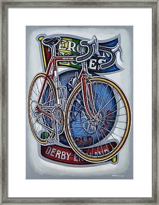 Mercian Flam Red Road Bicycle Framed Print