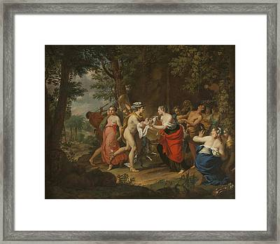 Mercury Confiding The Child Bacchus To The Nymphs On Nysa Framed Print by Carl Marcus Tuscher