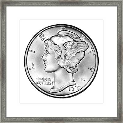 Mercury Dime Framed Print by Greg Joens