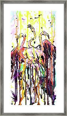 Framed Print featuring the painting Merging. Flamingos by Zaira Dzhaubaeva