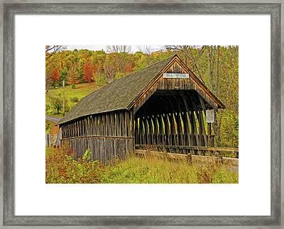 Meriden Covered Bridge Framed Print by Liz Mackney