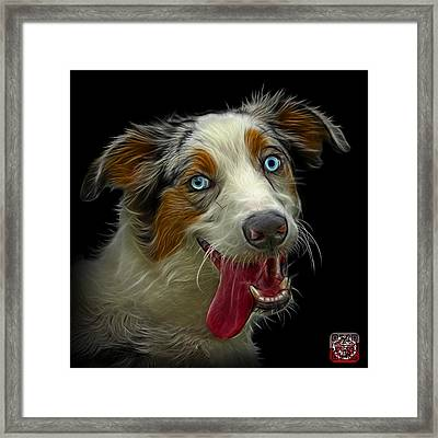 Framed Print featuring the painting Merle Australian Shepherd - 2136 - Bb by James Ahn