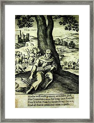 Merlin The Magician British 1812 Illustration With Castle And Mythical Beasts Framed Print