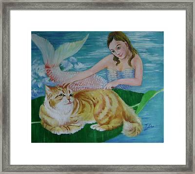 Mermaid And Cat Framed Print by Lian Zhen