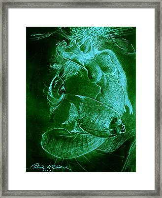 Mermaid And Fish Framed Print by Patrick McClintock