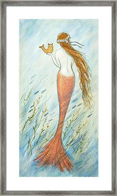 Mermaid And Her Catfish, Goldie Framed Print