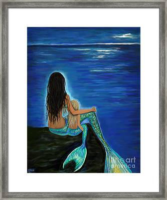 Framed Print featuring the painting Mermaid And Her Daughter by Leslie Allen