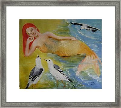 Mermaid And Seagulls Framed Print by Lian Zhen