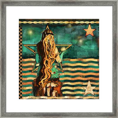 Mermaid And Stars By The Sea  Framed Print