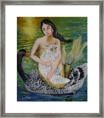 Mermaid And Swan Framed Print by Lian Zhen
