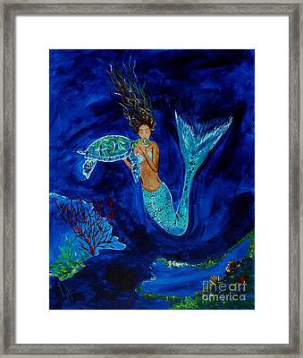 Mermaid And The Sea Turtle Framed Print by Leslie Allen