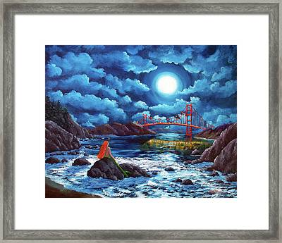 Mermaid At The Golden Gate Bridge  Framed Print by Laura Iverson