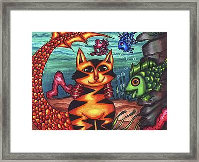 Mermaid Cat Fish Sealife Art Framed Print