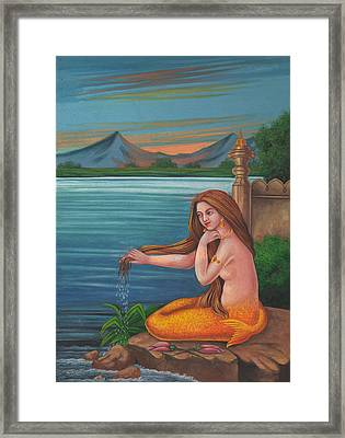 Mermaid Fish Woman Painting Mysterious Watercolor Artwork Framed Print by A K Mundra