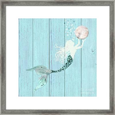Mermaid Gathering Pearls Creamy White Siren Holds A Huge Pearl Framed Print
