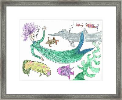 Mermaid Hello Framed Print