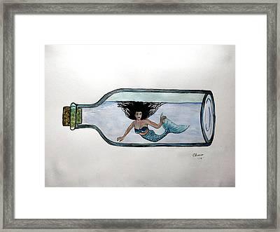 Mermaid In A Bottle Framed Print by Edwin Alverio