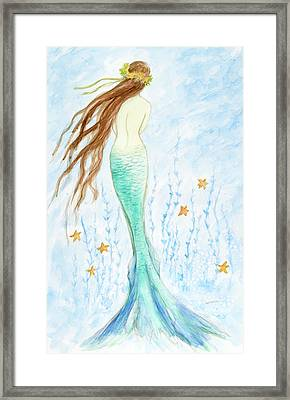 Mermaid In Her Garden Framed Print