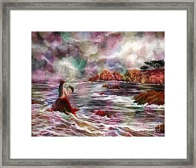 Mermaid In Rainbow Raindrops Framed Print by Laura Iverson