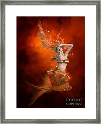 Mermaid In Red Framed Print