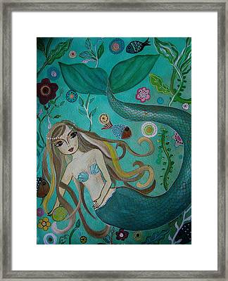 Mermaid-lady Of The Sea Framed Print by Pristine Cartera Turkus