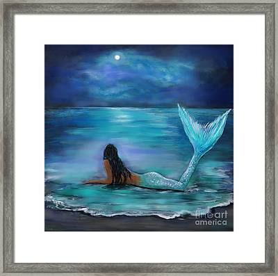Mermaid Moon And Stars Framed Print by Leslie Allen