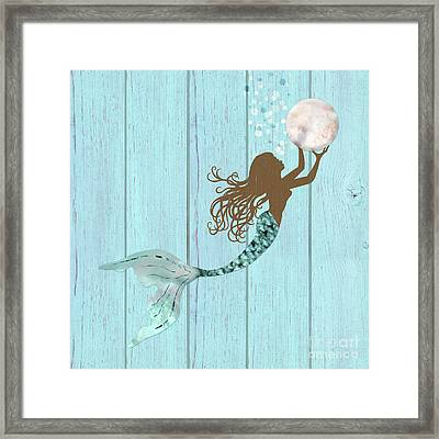 Mermaid Of Color Gathering Pearls Brown Siren Holds A Huge Pearl Framed Print