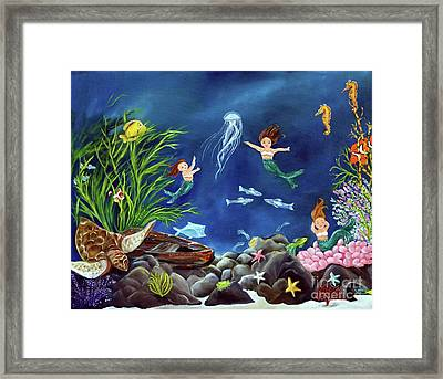 Framed Print featuring the painting Mermaid Recess by Carol Sweetwood