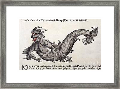Mermaid, Sea Monster, Gesner, 1560 Framed Print by Paul D. Stewart