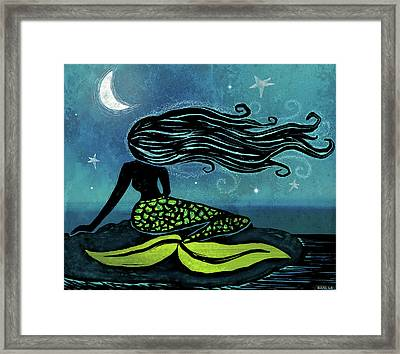 Mermaid Song Framed Print by Little Bunny Sunshine