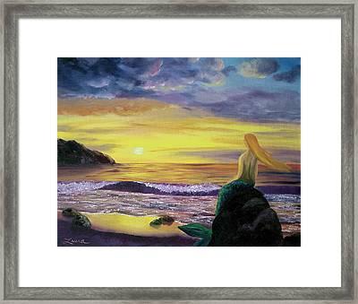 Mermaid Sunset Framed Print