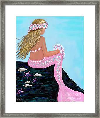 Framed Print featuring the painting Mermaid Sweetie by Leslie Allen