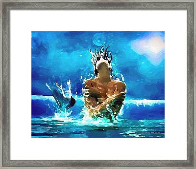 Mermaid Under The Moonlight Framed Print