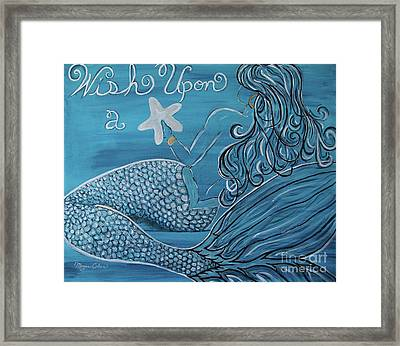 Mermaid- Wish Upon A Starfish Framed Print by Megan Cohen