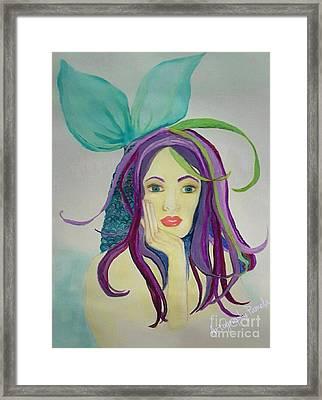 Mermaid With Mardis Gras Hair Framed Print