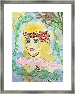 Mermaid With Music  Framed Print