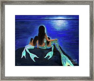 Framed Print featuring the painting Mermaids Fun Bunch by Leslie Allen