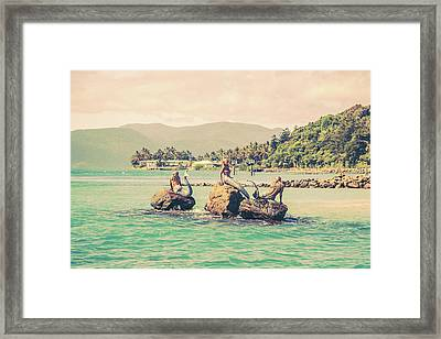 Mermaids In The Sun Framed Print