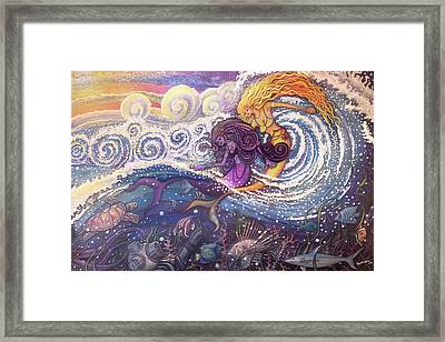 Mermaids In The Surf Framed Print