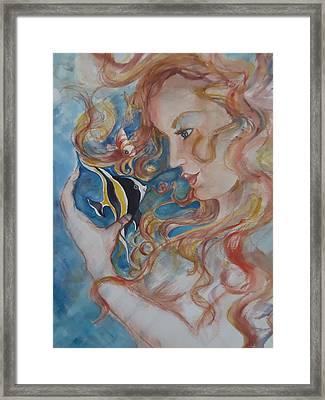 Mermaids Kiss Framed Print