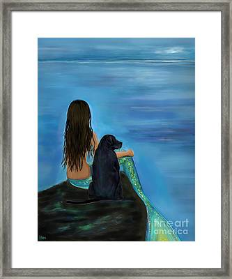 Framed Print featuring the painting Mermaids Loyal Bud by Leslie Allen