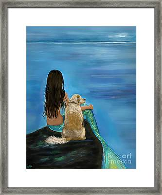 Framed Print featuring the painting Mermaids Loyal Buddy by Leslie Allen