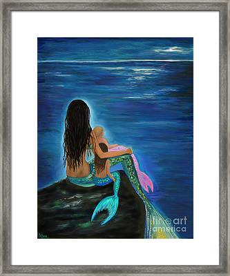 Framed Print featuring the painting Mermaids Sweet Little Girls by Leslie Allen
