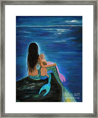 Framed Print featuring the painting Mermaids Sweet Little Ones by Leslie Allen