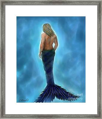 Framed Print featuring the painting Merman Majestic by Leslie Allen