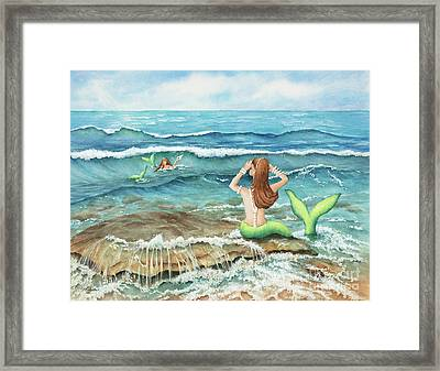 Mermomma Of Two Framed Print