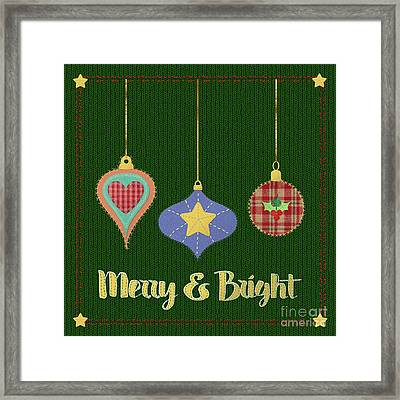 Merry And Bright Knit Stitched Folk Art Framed Print by Tina Lavoie