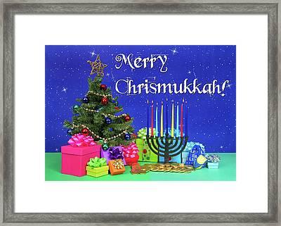 Merry Chrismukkah Framed Print by Sheila Fitzgerald