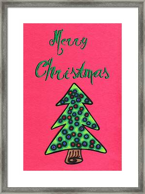 Merry Christmas Abstract Tree Framed Print