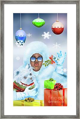 Merry Christmas And Kisses Framed Print